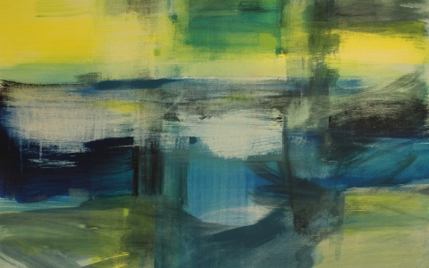 Maisemien palat, 2016, akryyli paperille, 91x106cm