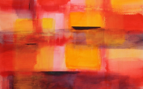 Lämmön hehku, 2016, akryyli paperille, 91x106cm