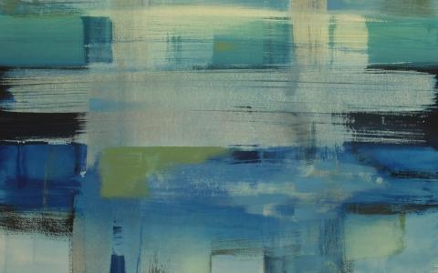 Liikkuvat taivaanrannat, 2016, akryyli paperille, 91 x 106
