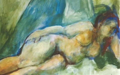 Elävän mallin maalaus 1996, munatempera