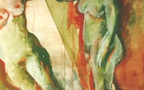 Elävän mallin maalaus IV 1995, munatempera