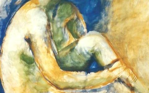 Elävän mallin maalaus V 1995, munatempera