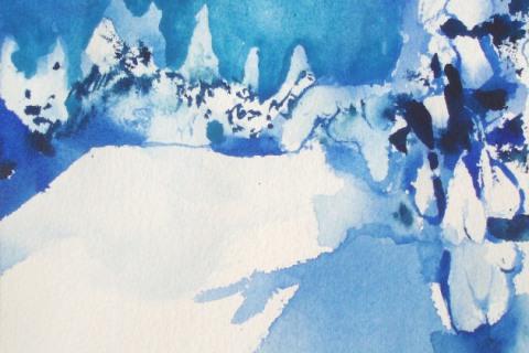 Valoja ja varjoja II 2014, Akvarelli