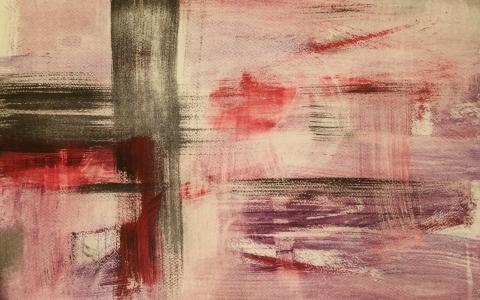 Purppurainen horisontti, 2016, akryyli paperille, 51 x 69cm