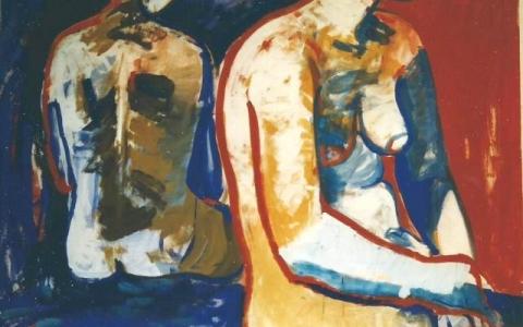 Elävän mallin maalaus III 1995, munatempera