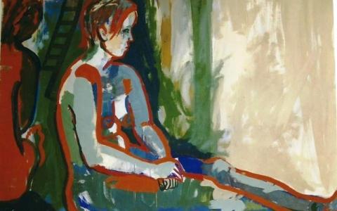 Alastonmalli-maalaus-I-1995-munatempera