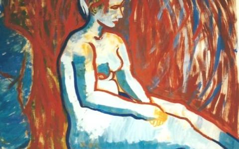 Alastonmalli-maalaus-II-1995-munatempera